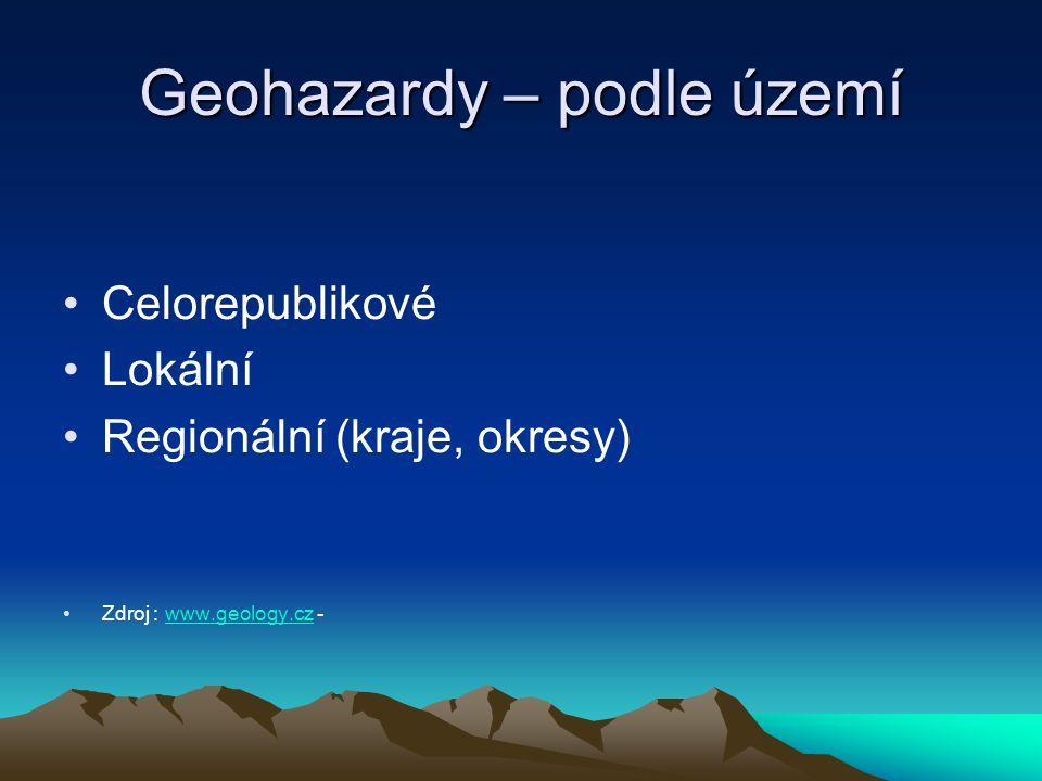 Geohazardy – podle území Celorepublikové Lokální Regionální (kraje, okresy) Zdroj : www.geology.cz -www.geology.cz