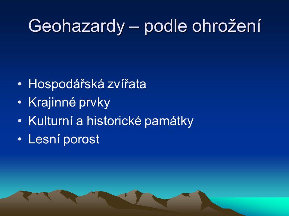 Geohazardy – podle ohrožení Hospodářská zvířata Krajinné prvky Kulturní a historické památky Lesní porost