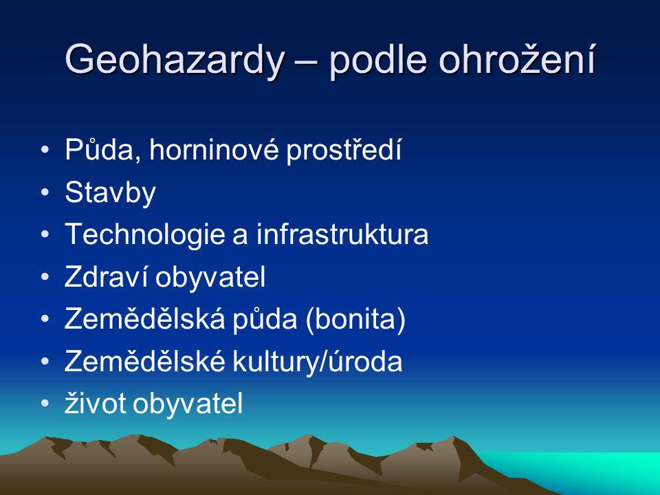 Geohazardy – podle ohrožení Půda, horninové prostředí Stavby Technologie a infrastruktura Zdraví obyvatel Zemědělská půda (bonita) Zemědělské kultury/úroda život obyvatel