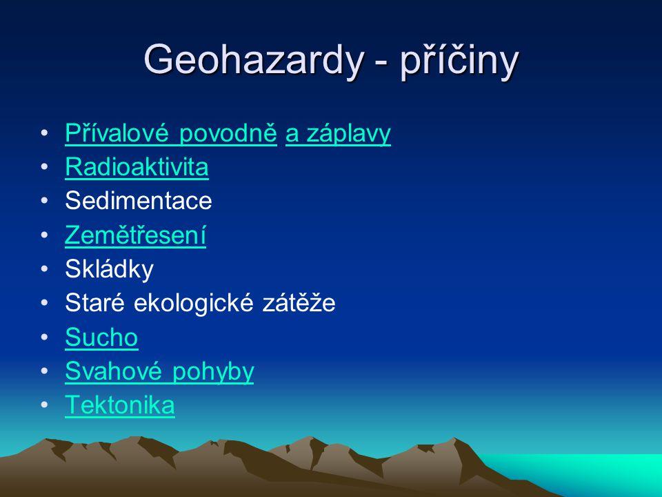 Geohazardy - příčiny Přívalové povodně a záplavyPřívalové povodněa záplavy Radioaktivita Sedimentace Zemětřesení Skládky Staré ekologické zátěže Sucho