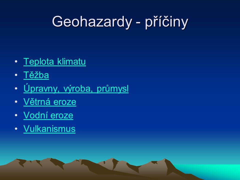 Geohazardy - příčiny Teplota klimatu Těžba Úpravny, výroba, průmysl Větrná eroze Vodní eroze Vulkanismus