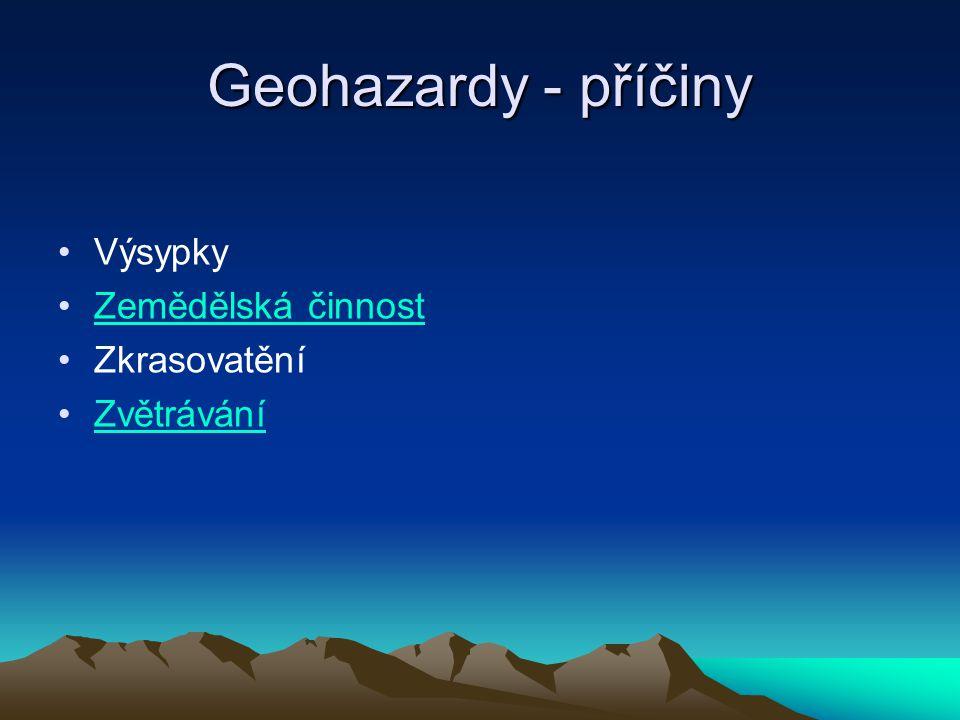 Geohazardy - příčiny Výsypky Zemědělská činnost Zkrasovatění Zvětrávání