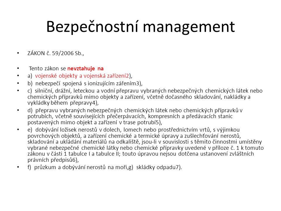 Bezpečnostní management ZÁKON č. 59/2006 Sb., Tento zákon se nevztahuje na a) vojenské objekty a vojenská zařízení2), b) nebezpečí spojená s ionizujíc
