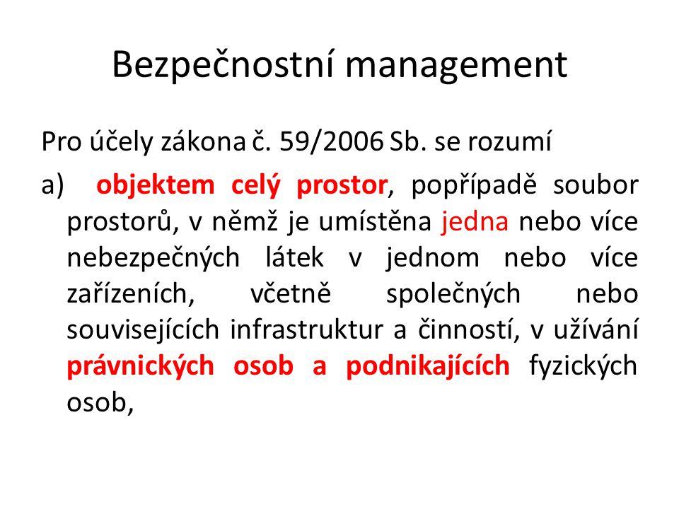 Bezpečnostní management Pro účely zákona č. 59/2006 Sb. se rozumí a) objektem celý prostor, popřípadě soubor prostorů, v němž je umístěna jedna nebo v