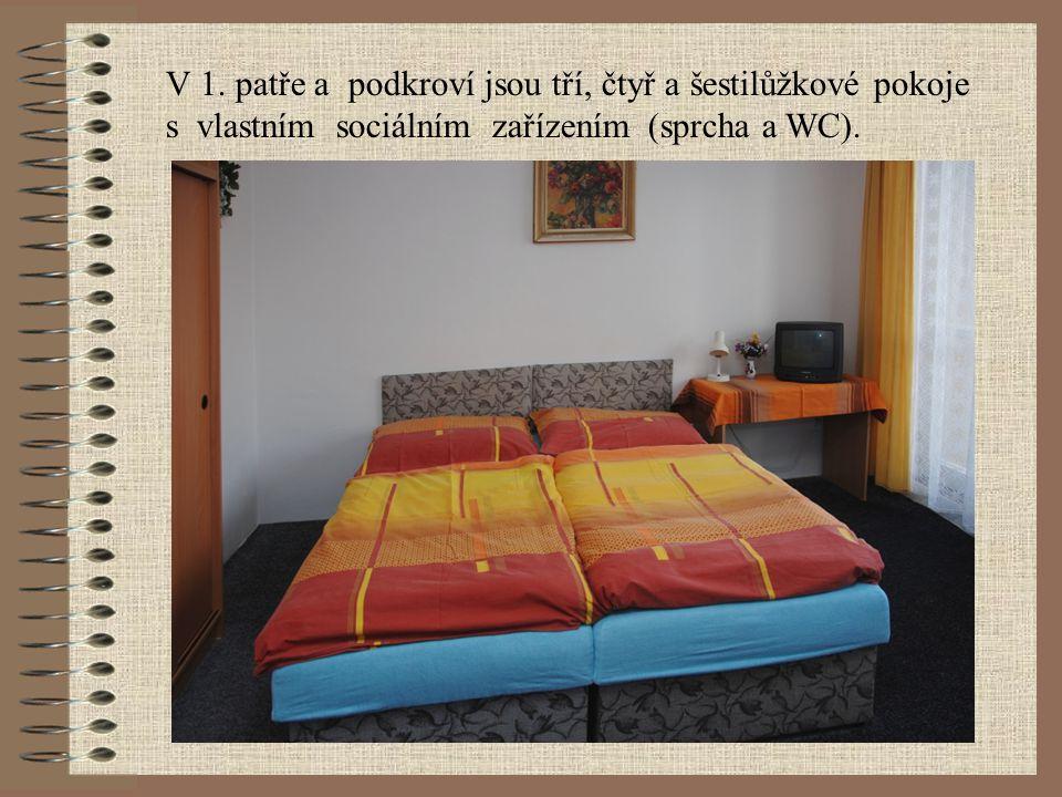 Ubytování Chata nabízí celoroční ubytování s kapacitou 38 lůžek. Na všech pokojích jsou lednice a TV, v objektu je satelitní a video rozvod. K využití