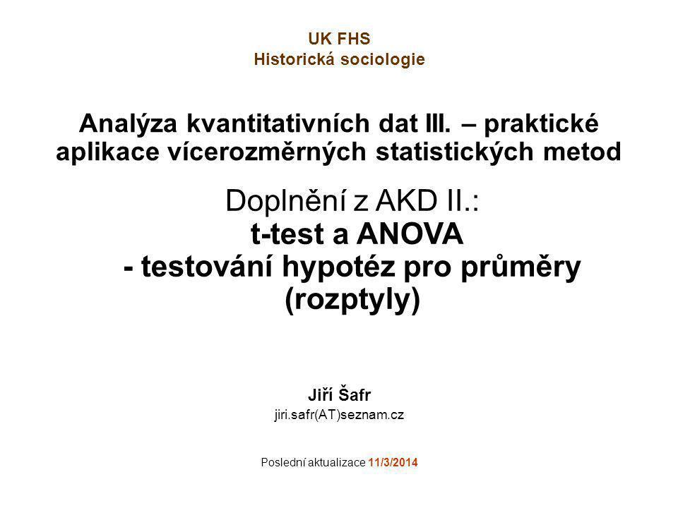 Testování hypotéz pro průměry (rozptyly) Doplnění z AKD II.