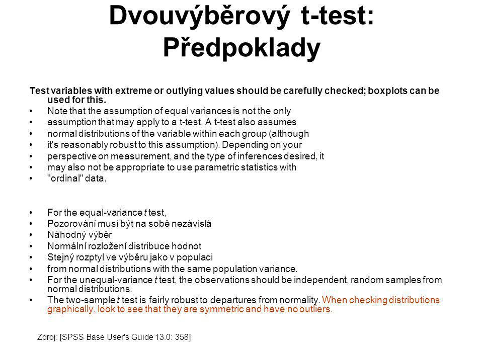 Dvouvýběrový t-test: Předpoklady Test variables with extreme or outlying values should be carefully checked; boxplots can be used for this. Note that