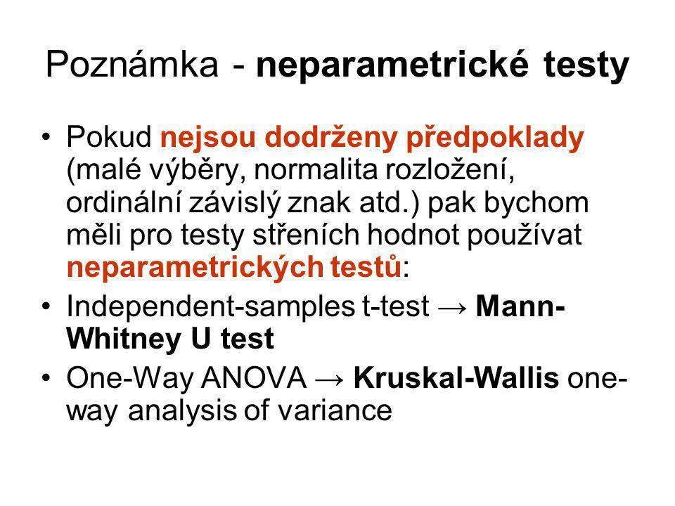 Poznámka - neparametrické testy Pokud nejsou dodrženy předpoklady (malé výběry, normalita rozložení, ordinální závislý znak atd.) pak bychom měli pro