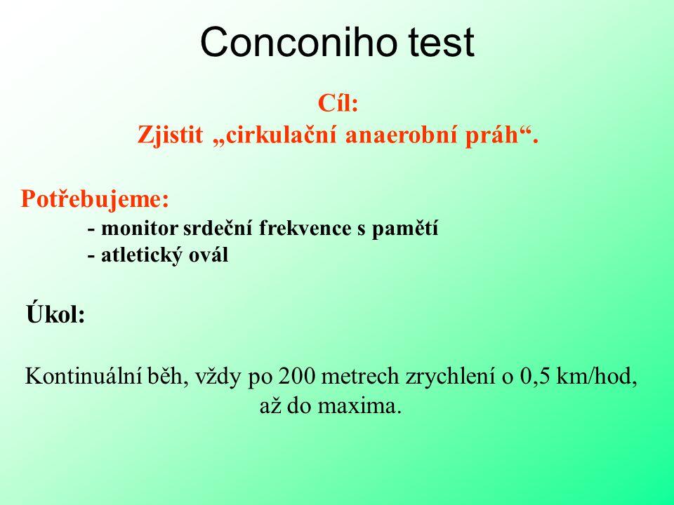 """Conconiho test Cíl: Zjistit """"cirkulační anaerobní práh"""". Úkol: Potřebujeme: - monitor srdeční frekvence s pamětí - atletický ovál Kontinuální běh, vžd"""
