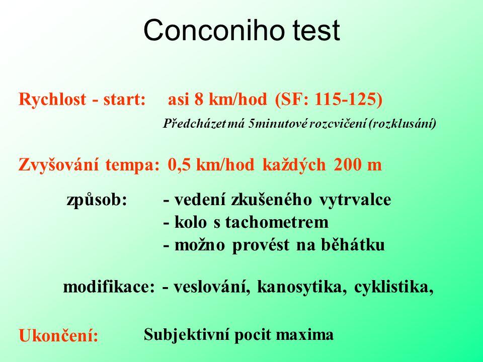 Conconiho test Rychlost - start: asi 8 km/hod (SF: 115-125) Předcházet má 5minutové rozcvičení (rozklusání) Zvyšování tempa: 0,5 km/hod každých 200 m