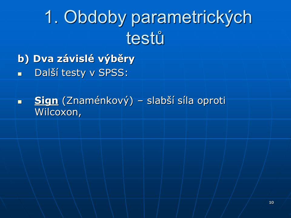 10 1. Obdoby parametrických testů 1. Obdoby parametrických testů b) Dva závislé výběry Další testy v SPSS: Další testy v SPSS: Sign (Znaménkový) – sla