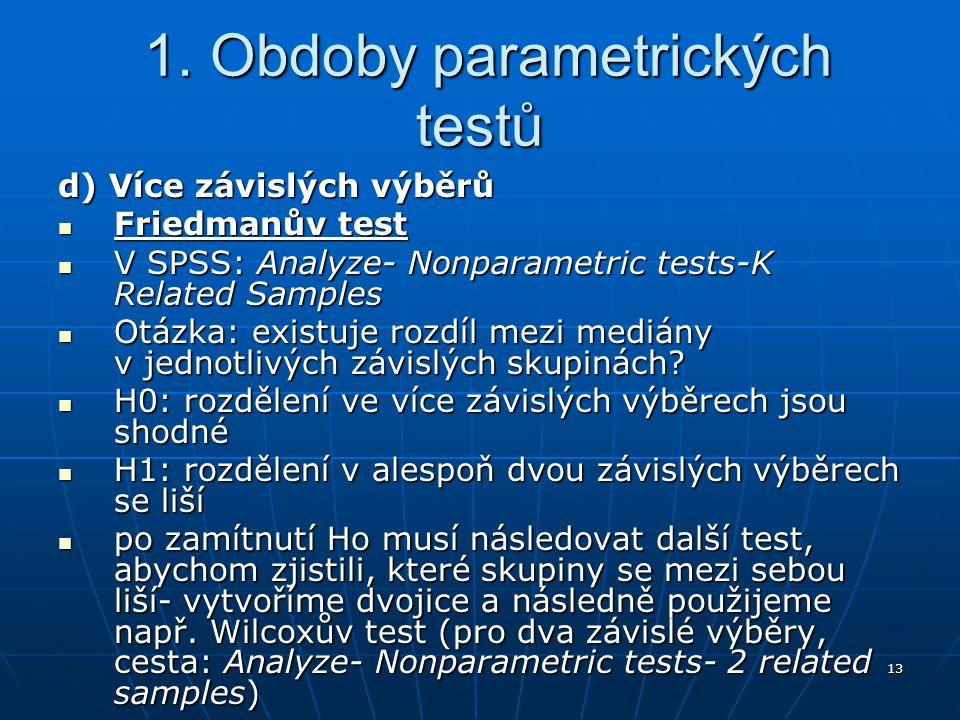 13 1. Obdoby parametrických testů 1. Obdoby parametrických testů d) Více závislých výběrů Friedmanův test Friedmanův test V SPSS: Analyze- Nonparametr