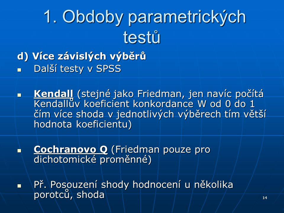 14 1. Obdoby parametrických testů 1. Obdoby parametrických testů d) Více závislých výběrů Další testy v SPSS Další testy v SPSS Kendall (stejné jako F