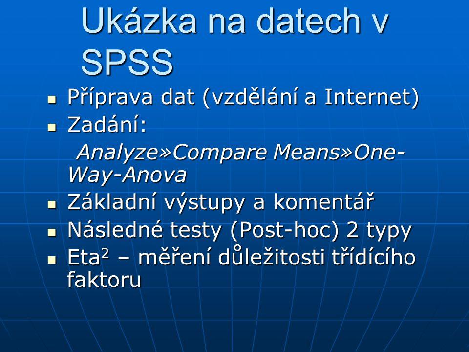 Ukázka na datech v SPSS Příprava dat (vzdělání a Internet) Příprava dat (vzdělání a Internet) Zadání: Zadání: Analyze»Compare Means»One- Way-Anova Ana