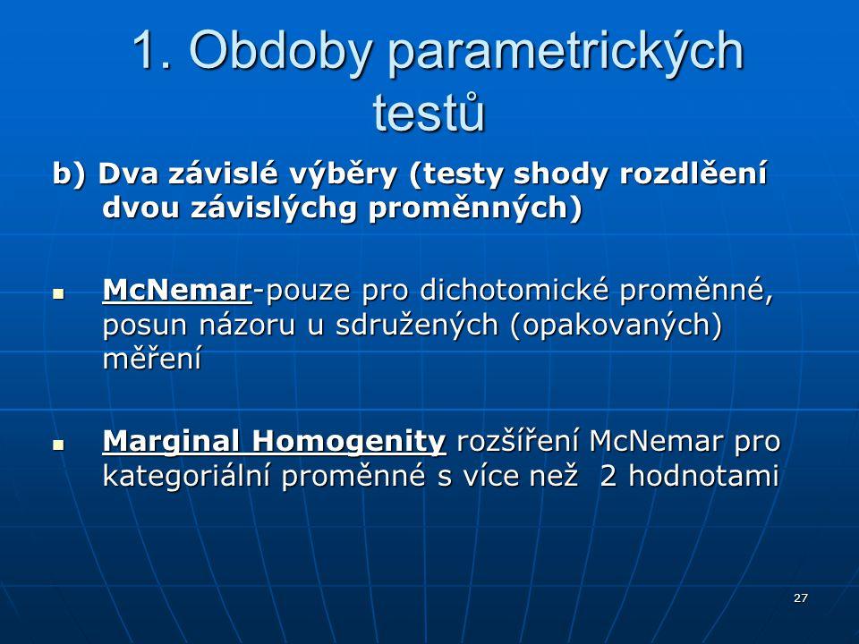 27 1. Obdoby parametrických testů 1. Obdoby parametrických testů b) Dva závislé výběry (testy shody rozdlěení dvou závislýchg proměnných) McNemar-pouz