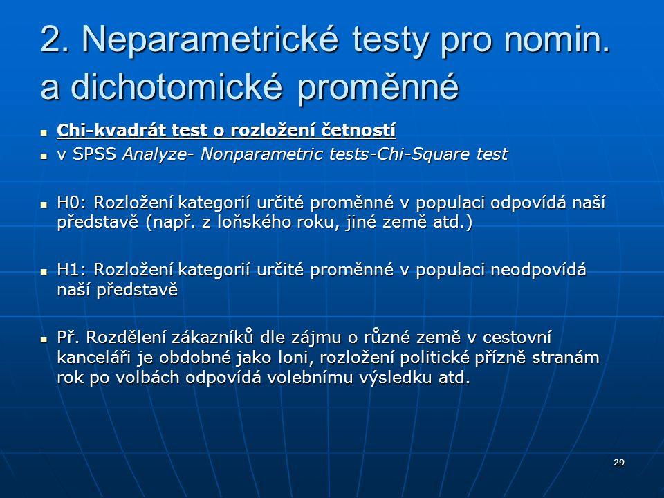 29 Chi-kvadrát test o rozložení četností Chi-kvadrát test o rozložení četností v SPSS Analyze- Nonparametric tests-Chi-Square test v SPSS Analyze- Non