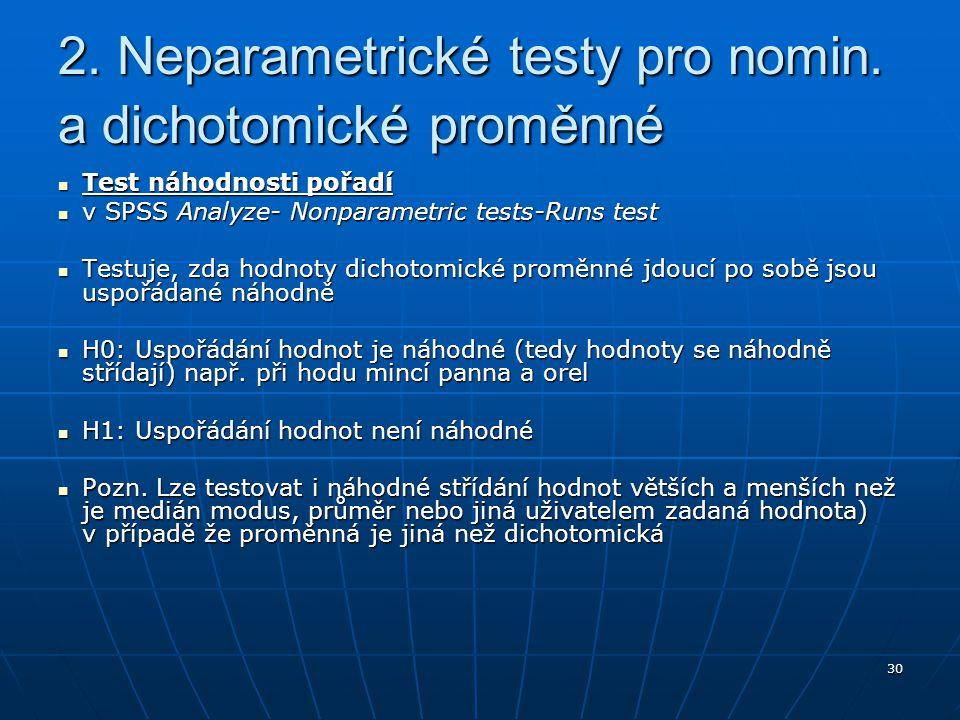 30 Test náhodnosti pořadí Test náhodnosti pořadí v SPSS Analyze- Nonparametric tests-Runs test v SPSS Analyze- Nonparametric tests-Runs test Testuje,