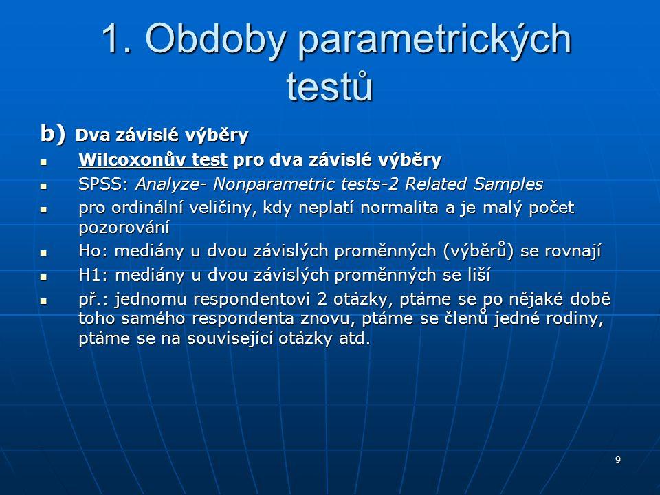 9 1. Obdoby parametrických testů 1. Obdoby parametrických testů b) Dva závislé výběry Wilcoxonův test pro dva závislé výběry Wilcoxonův test pro dva z
