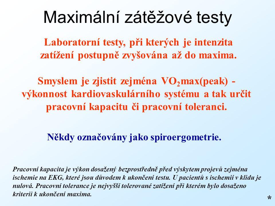 Maximální zátěžové testy Laboratorní testy, při kterých je intenzita zatížení postupně zvyšována až do maxima. Někdy označovány jako spiroergometrie.