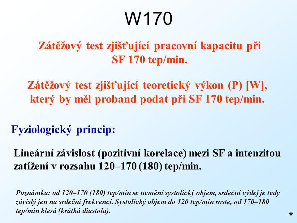W170 Zátěžový test zjišťující pracovní kapacitu při SF 170 tep/min. Fyziologický princip: Lineární závislost (pozitivní korelace) mezi SF a intenzitou