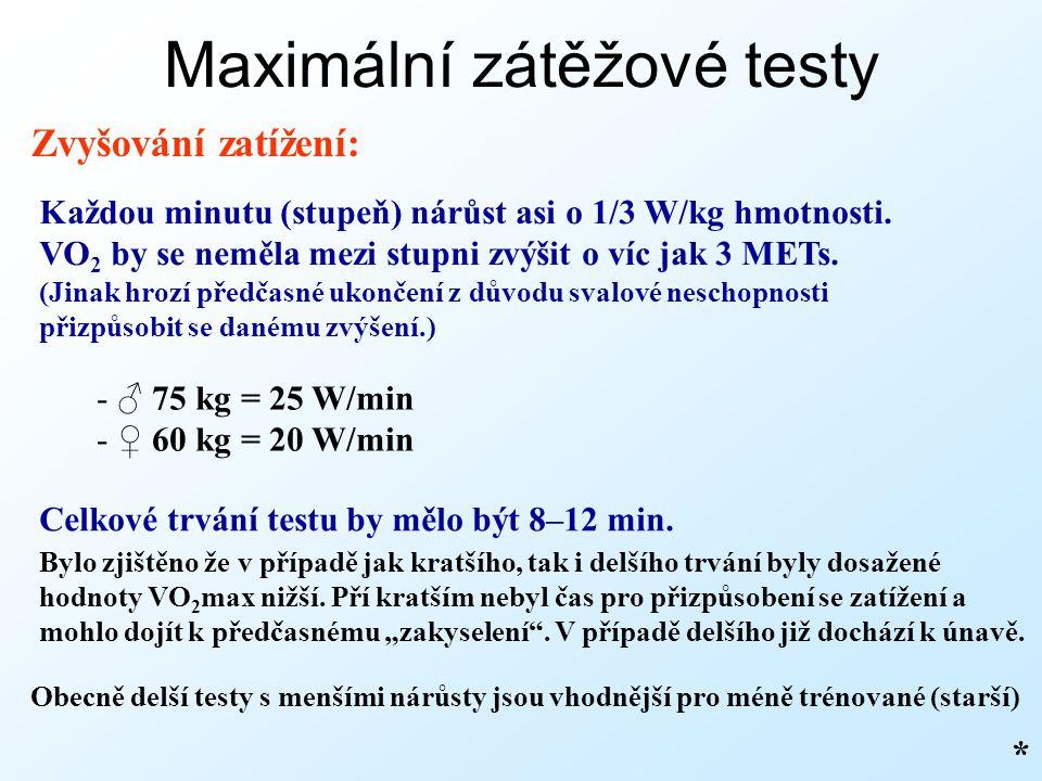 Maximální zátěžové testy Zvyšování zatížení: Každou minutu (stupeň) nárůst asi o 1/3 W/kg hmotnosti. VO 2 by se neměla mezi stupni zvýšit o víc jak 3