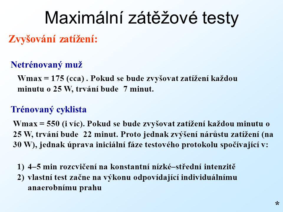 Maximální zátěžové testy Zvyšování zatížení: * Netrénovaný muž Wmax = 175 (cca). Pokud se bude zvyšovat zatížení každou minutu o 25 W, trvání bude 7 m