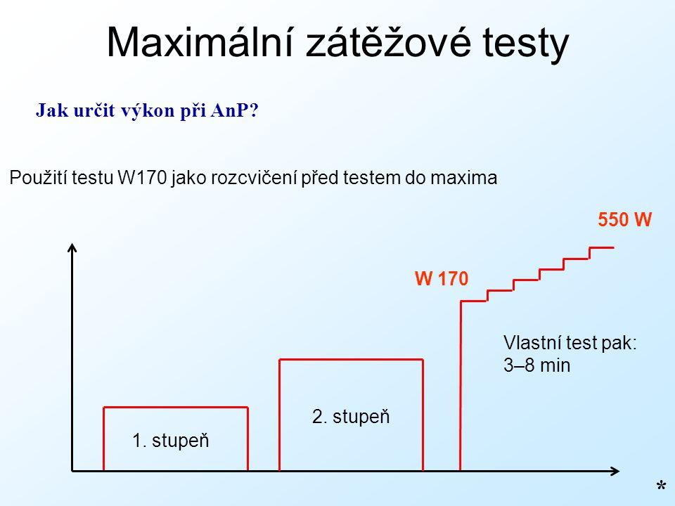 Maximální zátěžové testy * Jak určit výkon při AnP? 550 W Použití testu W170 jako rozcvičení před testem do maxima W 170 1. stupeň Vlastní test pak: 3