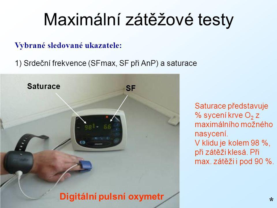 Maximální zátěžové testy Vybrané sledované ukazatele: 1) Srdeční frekvence (SFmax, SF při AnP) a saturace * Saturace představuje % sycení krve O 2 z m