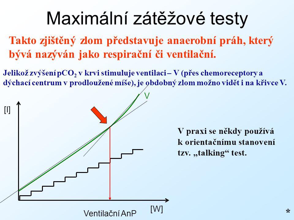 Maximální zátěžové testy Takto zjištěný zlom představuje anaerobní práh, který bývá nazýván jako respirační či ventilační. * Jelikož zvýšení pCO 2 v k