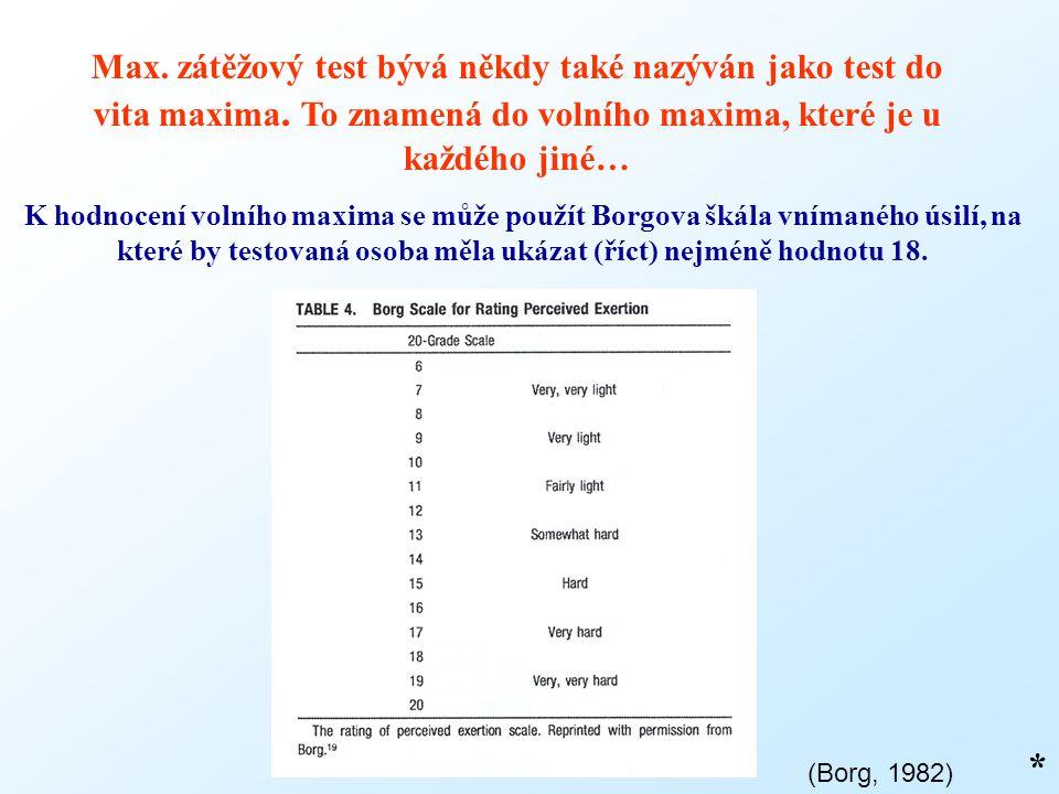 * Max. zátěžový test bývá někdy také nazýván jako test do vita maxima. To znamená do volního maxima, které je u každého jiné… K hodnocení volního maxi