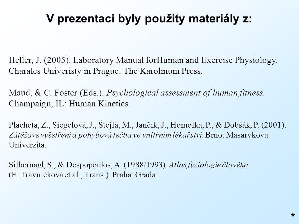 V prezentaci byly použity materiály z: * Heller, J. (2005). Laboratory Manual forHuman and Exercise Physiology. Charales Univeristy in Prague: The Kar