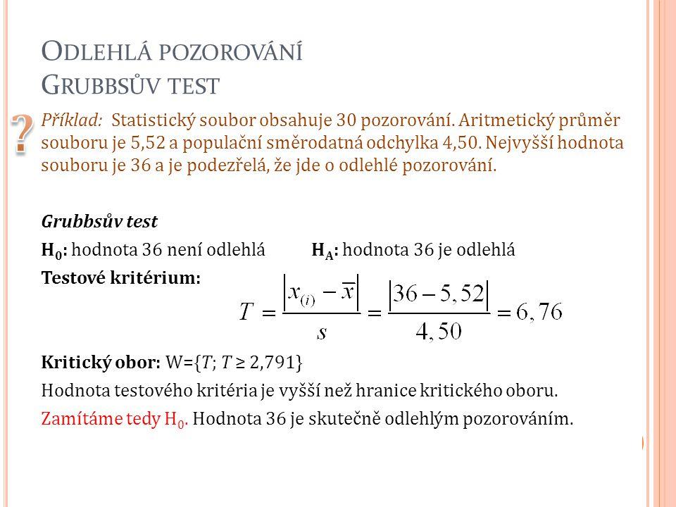 O DLEHLÁ POZOROVÁNÍ G RUBBSŮV TEST Příklad: Statistický soubor obsahuje 30 pozorování. Aritmetický průměr souboru je 5,52 a populační směrodatná odchy