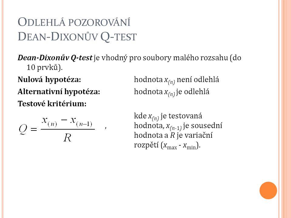 O DLEHLÁ POZOROVÁNÍ D EAN -D IXONŮV Q- TEST Dean-Dixonův Q-test je vhodný pro soubory malého rozsahu (do 10 prvků). Nulová hypotéza:hodnota x (n) není