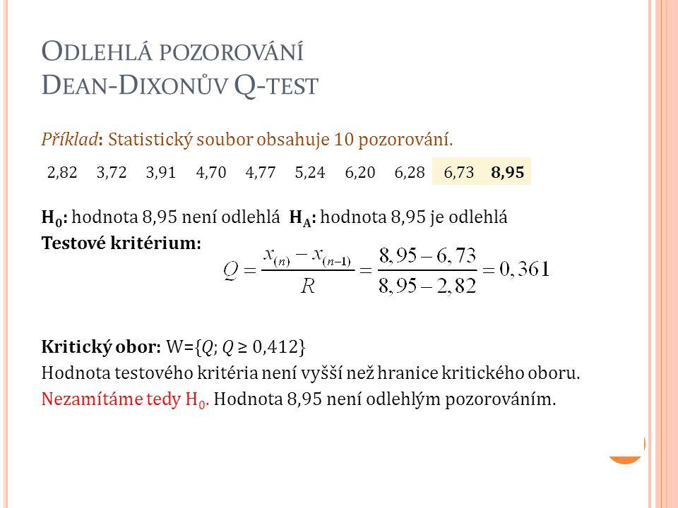 O DLEHLÁ POZOROVÁNÍ D EAN -D IXONŮV Q- TEST Příklad: Statistický soubor obsahuje 10 pozorování. H 0 : hodnota 8,95 není odlehlá H A : hodnota 8,95 je