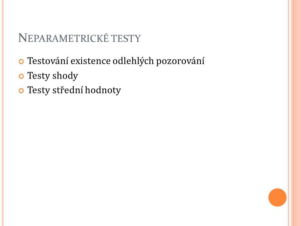 T ESTY SHODY K OLMOGOROV -S MIRNOVŮV TEST Kritický obor: W={D; D ≥ d(n;α)} D statistika nemá standardní rozdělení, proto je nutno hledat v tabulce (http://most.ujep.cz/~popelka/tabulky.xls)http://most.ujep.cz/~popelka/tabulky.xls Pro n >50 pak d(n; 0,05) ≈ 1,36 / n 1/2