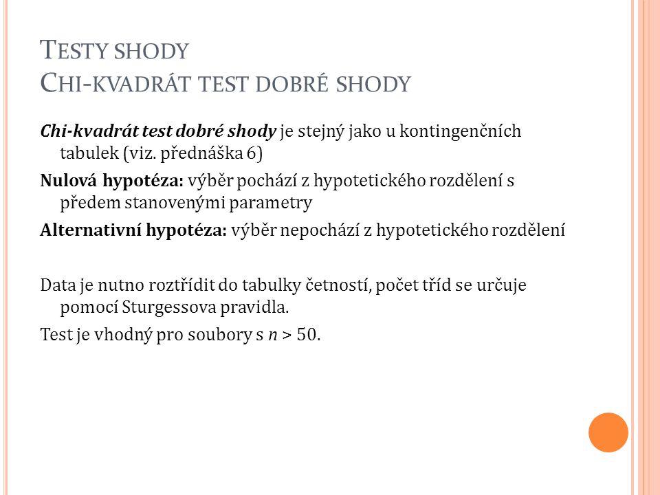 T ESTY SHODY C HI - KVADRÁT TEST DOBRÉ SHODY Chi-kvadrát test dobré shody je stejný jako u kontingenčních tabulek (viz. přednáška 6) Nulová hypotéza: