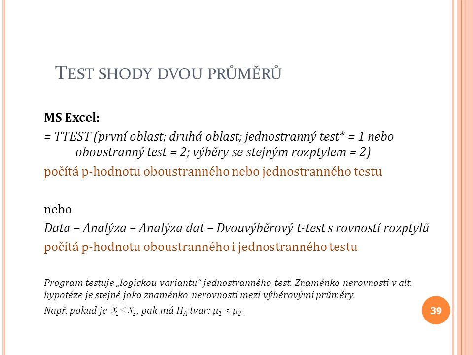 T EST SHODY DVOU PRŮMĚRŮ MS Excel: = TTEST (první oblast; druhá oblast; jednostranný test* = 1 nebo oboustranný test = 2; výběry se stejným rozptylem