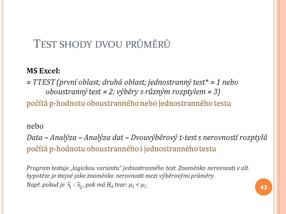 T EST SHODY DVOU PRŮMĚRŮ MS Excel: = TTEST (první oblast; druhá oblast; jednostranný test* = 1 nebo oboustranný test = 2; výběry s různým rozptylem =