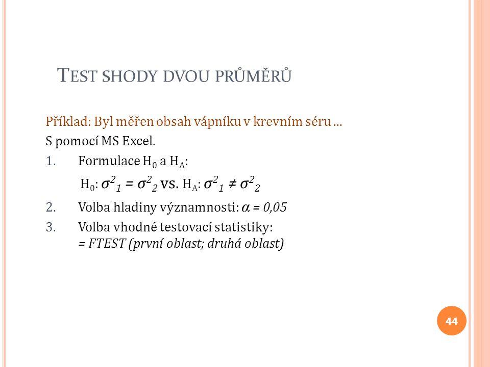 T EST SHODY DVOU PRŮMĚRŮ Příklad: Byl měřen obsah vápníku v krevním séru... S pomocí MS Excel. 1.Formulace H 0 a H A : H 0 : σ 2 1 = σ 2 2 vs. H A : σ