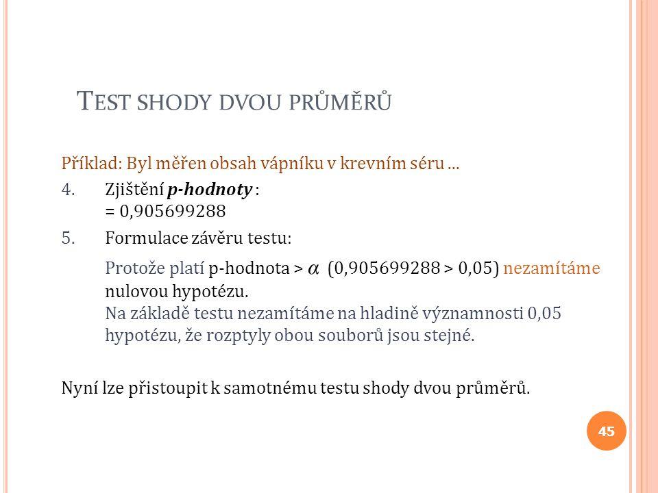 T EST SHODY DVOU PRŮMĚRŮ Příklad: Byl měřen obsah vápníku v krevním séru... 4.Zjištění p-hodnoty : = 0,905699288 5.Formulace závěru testu: Protože pla