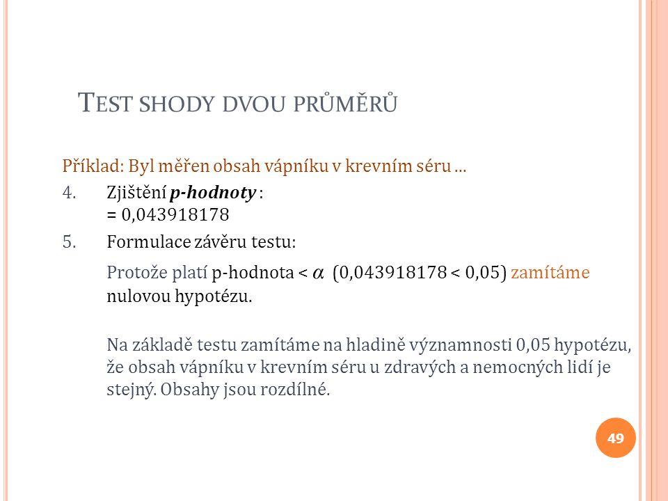 T EST SHODY DVOU PRŮMĚRŮ Příklad: Byl měřen obsah vápníku v krevním séru... 4.Zjištění p-hodnoty : = 0,043918178 5.Formulace závěru testu: Protože pla