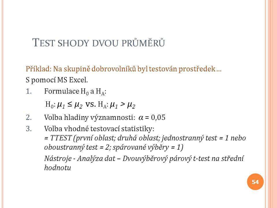 T EST SHODY DVOU PRŮMĚRŮ Příklad: Na skupině dobrovolníků byl testován prostředek... S pomocí MS Excel. 1.Formulace H 0 a H A : H 0 : μ 1 ≤ μ 2 vs. H
