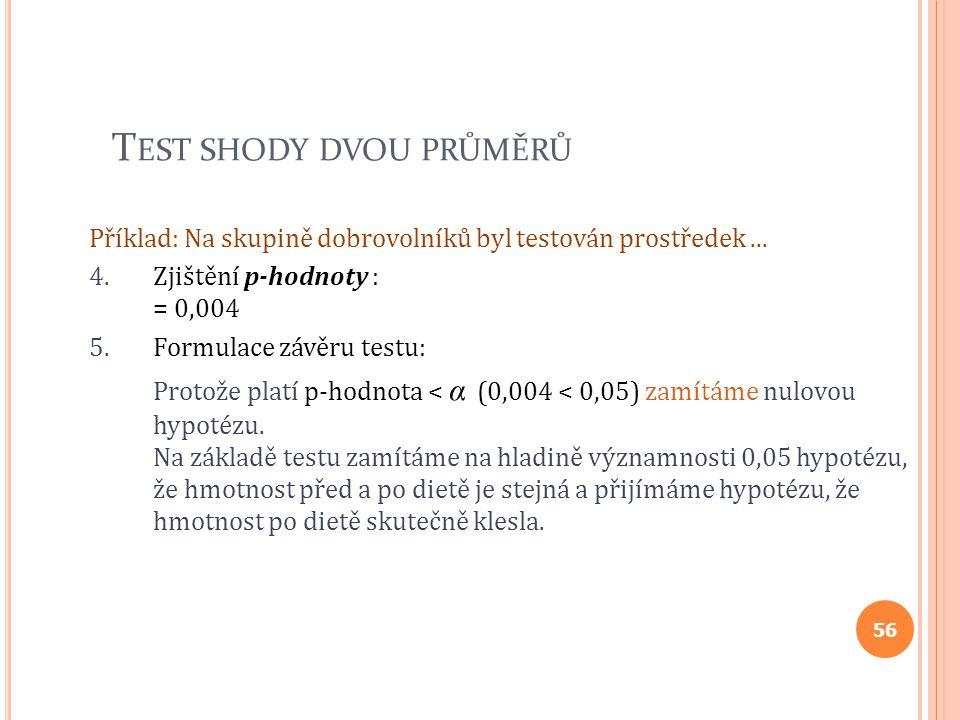T EST SHODY DVOU PRŮMĚRŮ Příklad: Na skupině dobrovolníků byl testován prostředek... 4.Zjištění p-hodnoty : = 0,004 5.Formulace závěru testu: Protože