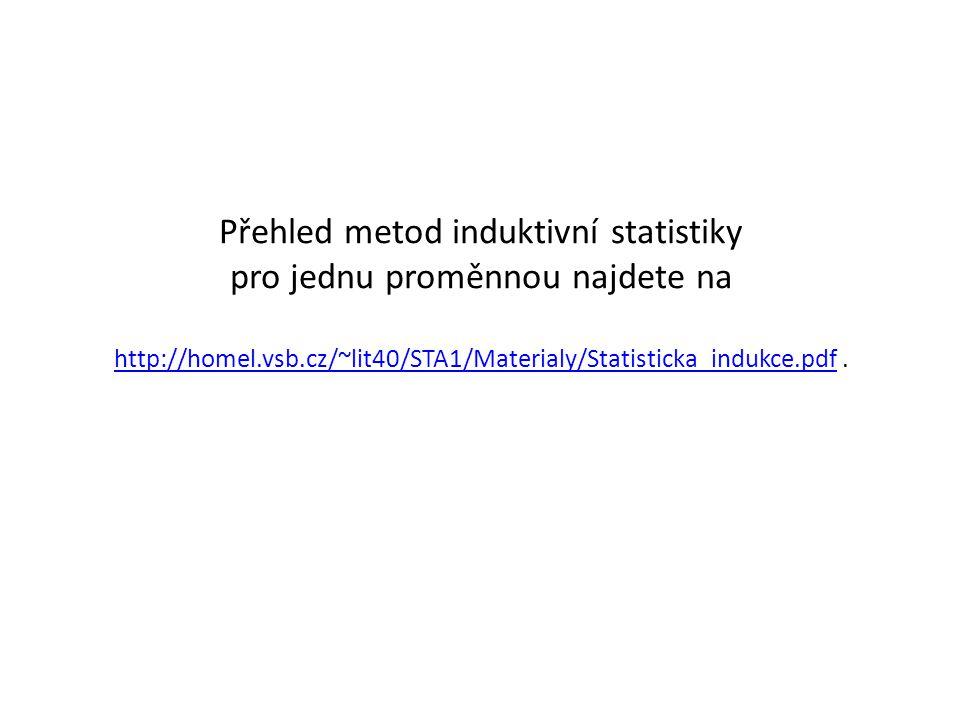 Přehled metod induktivní statistiky pro jednu proměnnou najdete na http://homel.vsb.cz/~lit40/STA1/Materialy/Statisticka_indukce.pdf. http://homel.vsb