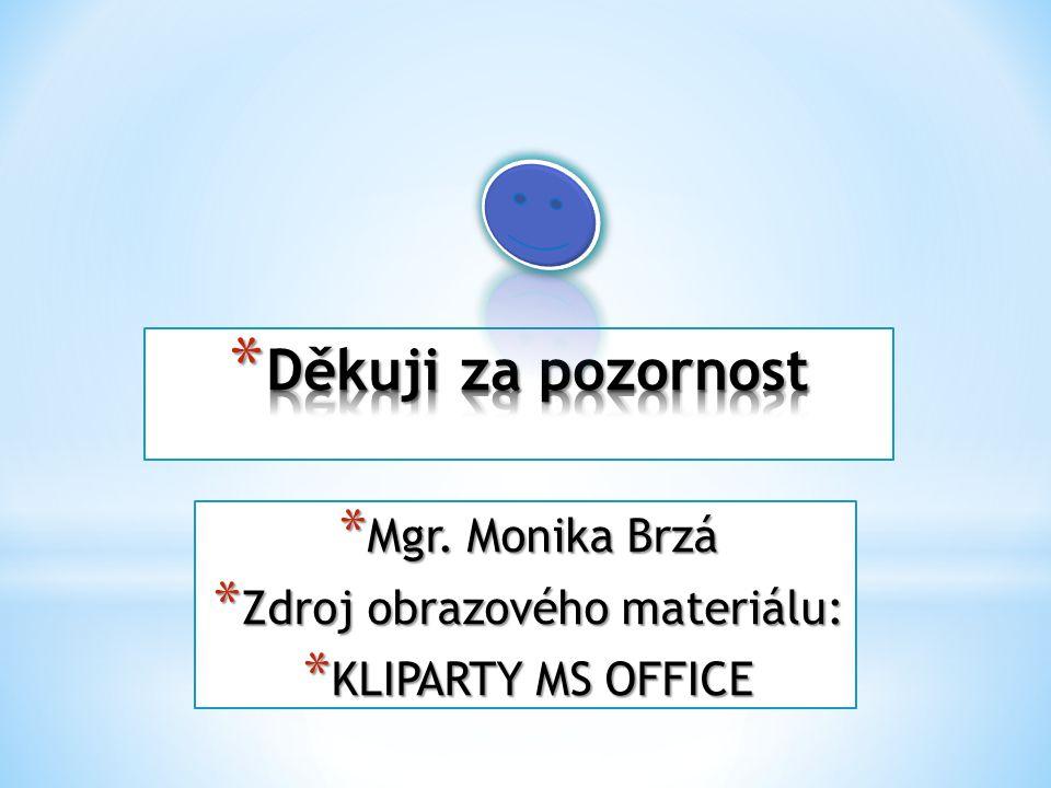 * Mgr. Monika Brzá * Zdroj obrazového materiálu: * KLIPARTY MS OFFICE