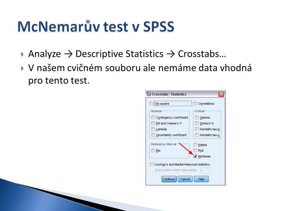  Analyze → Descriptive Statistics → Crosstabs…  V našem cvičném souboru ale nemáme data vhodná pro tento test.
