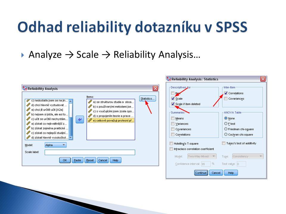  Analyze → Scale → Reliability Analysis…