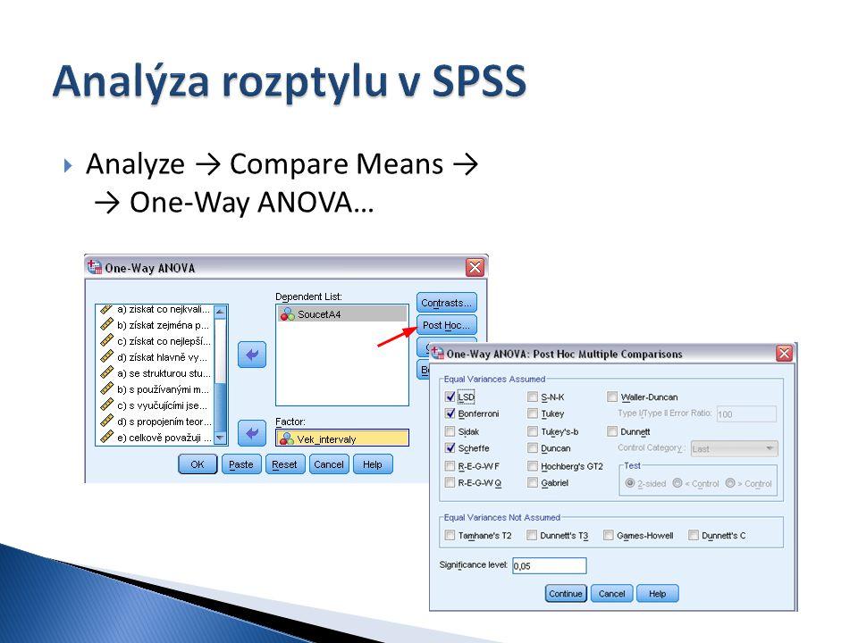  Analyze → Compare Means → → One-Way ANOVA…