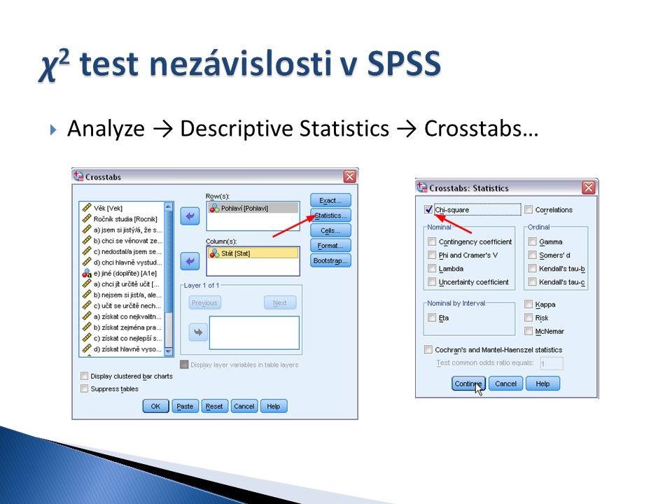  Analyze → Descriptive Statistics → Crosstabs…