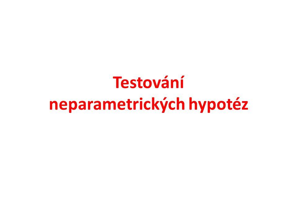 Neparemetrické hypotézy Hypotézy o vlastnostech populace (typ rozdělení, závislosti, …)